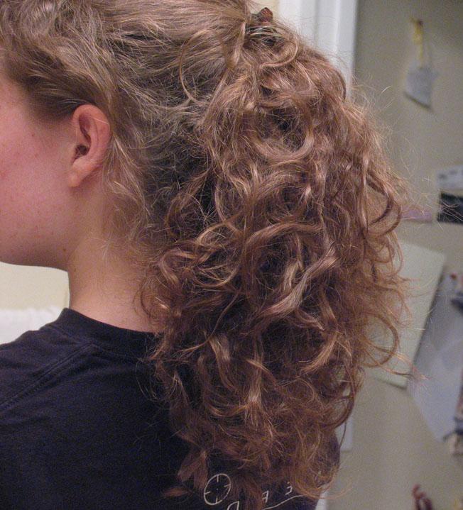Messy bun curls